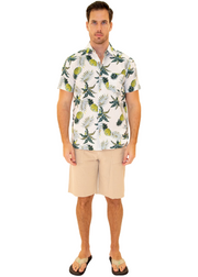 206017 - White Cotton Hawaiian Pocket Shirt