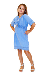 G1019- Blue Cotton Dress