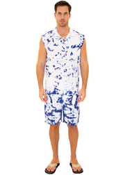 GZ1004 - Tie Dye Blue Cotton Drawstring Pocket Sleeveless Shirt