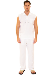GZ1010 - White Cotton Drawstring Waist Pants