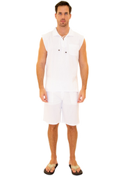 GZ1004 - White Cotton Drawstring Pocket Sleeveless Shirt
