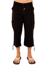 GZ1011 - Black Cotton Drawstring 3/4 Cargo Pants