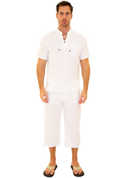 GZ1011 - White Cotton Drawstring 3/4 Cargo Pants