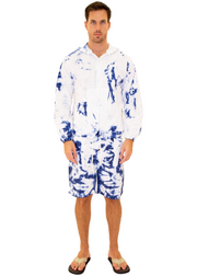 GZ1014 - Tie Dye Blue Cotton Drawstring Zip-Up Hoodie