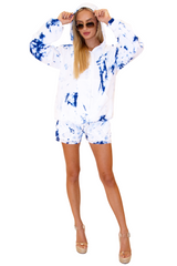 NW1029 - Tie Dye Blue Cotton Shorts