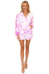 GZ1014 - Tie Dye Pink Cotton Drawstring Zip-Up Hoodie