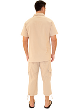 GZ1011 - Beige Cotton Drawstring 3/4 Cargo Pants