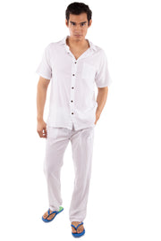 GZ1023- White Cotton Drawstring Waist Pants