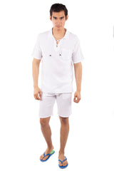 GZ1024 - White Cotton Zipper Shorts