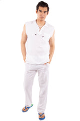 GZ1026 - White Cotton Drawstring Pocket Sleeveless Shirt