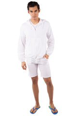 GZ1027 - White Cotton Drawstring Zip-Up Hoodie