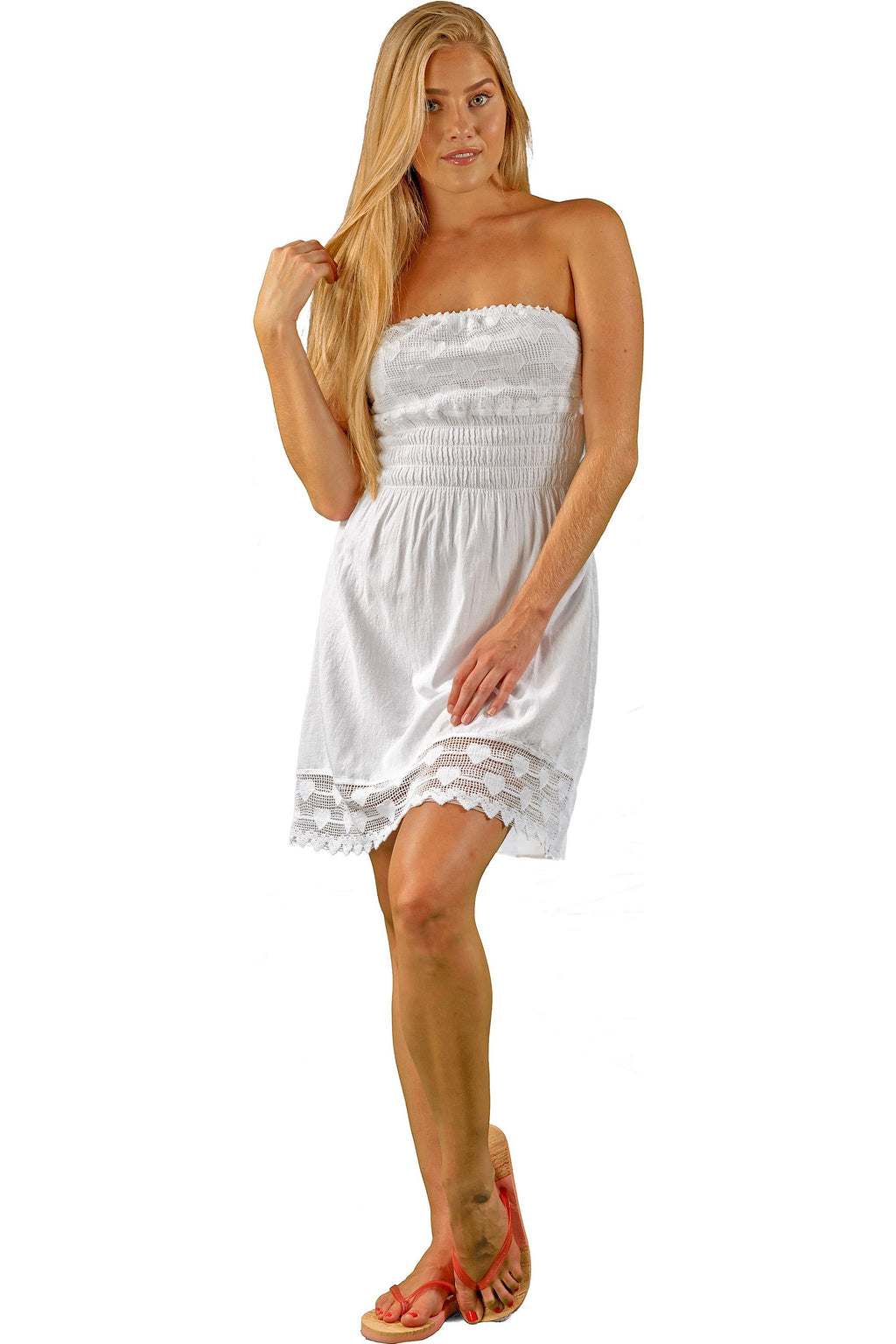 NW1023 - White Cotton Dress - seaspiceresort.com