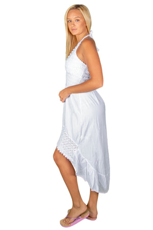 NW1050 - White Cotton Dress - seaspiceresort.com