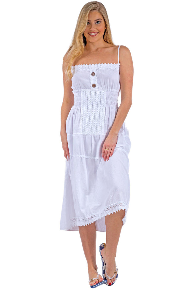 NW1052 - White Cotton Dress - seaspiceresort.com
