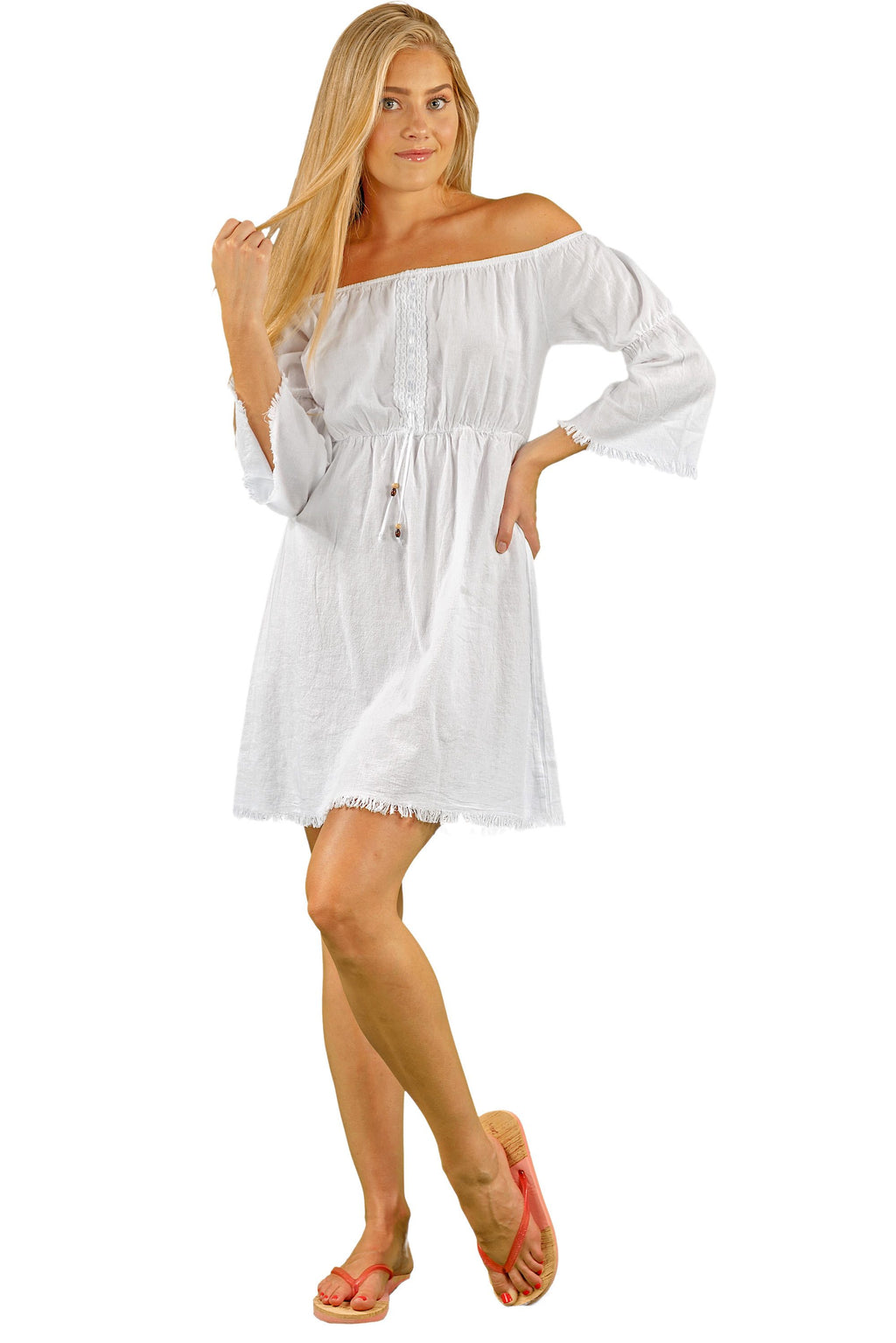 NW1069 - White Cotton Dress - seaspiceresort.com
