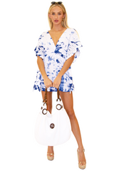 NW1073 - Tie Dye Blue Cotton Cover-Up