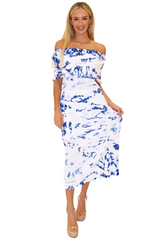 NW1079 - Tie-Dye Blue Cotton Dress