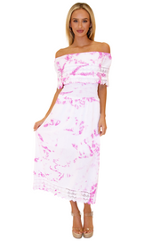 NW1079 - Tie-Dye Pink Cotton Dress