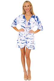 NW1085 - Tie Dye Blue Cotton Dress