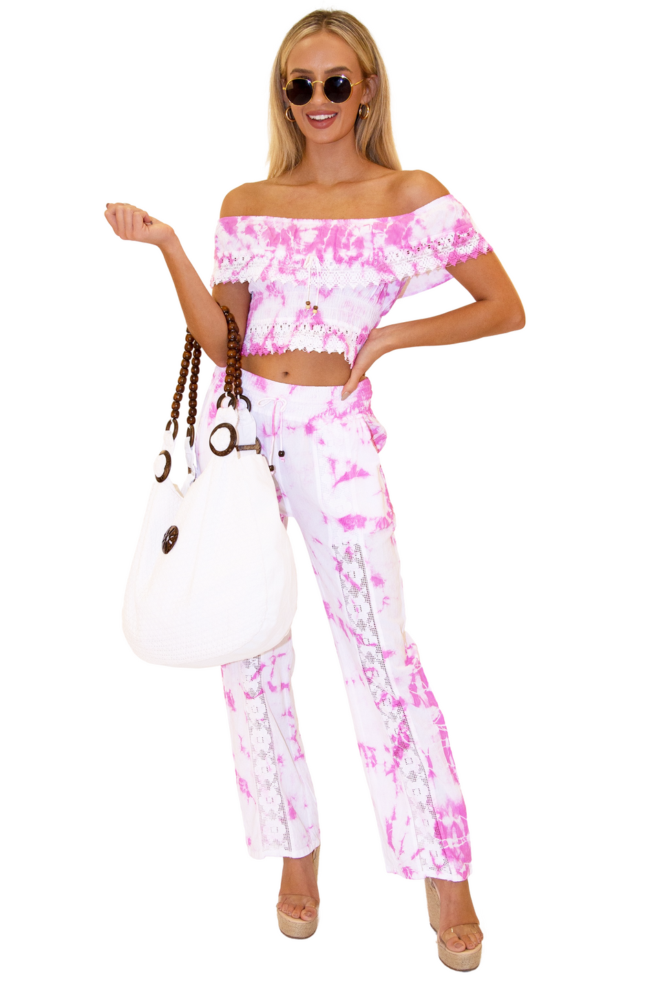 NW1175 - Tie Dye Pink Cotton Pants
