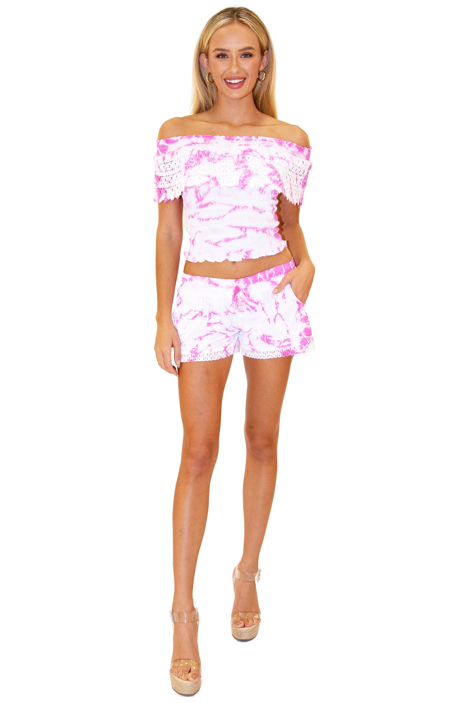 NW1029 - Tie Dye Pink Cotton Shorts