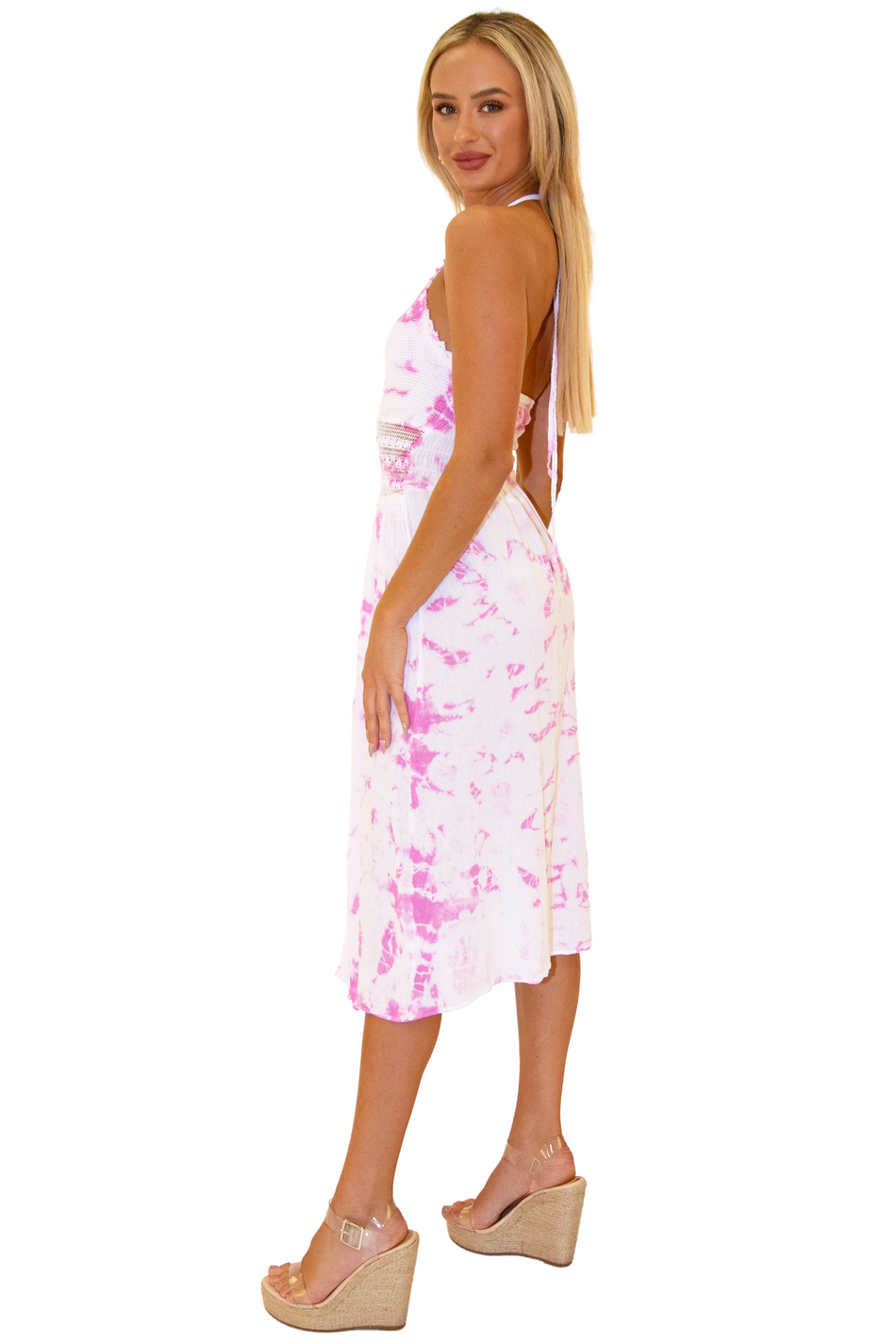 NW1273 - Tie-Dye Pink Cotton Dress