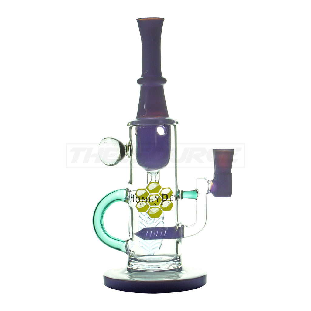"10"" HoneyDew Glass Inline Perc Leaf Water Pipe - The Source of All"