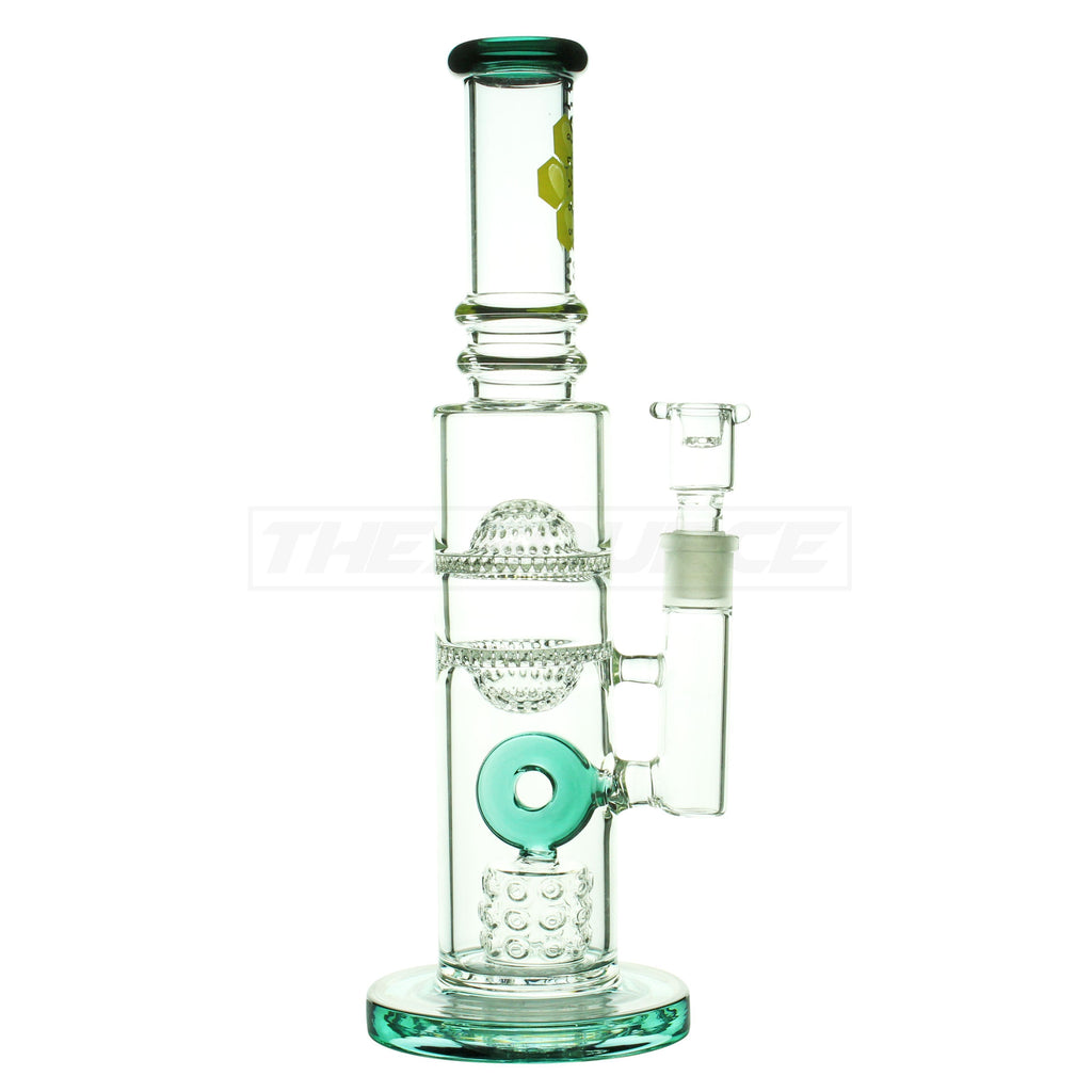 "14"" HoneyDew Glass Fire Cut Inset to Donut Perc to Double Honeycomb Perc Water Pipe - The Source of All"