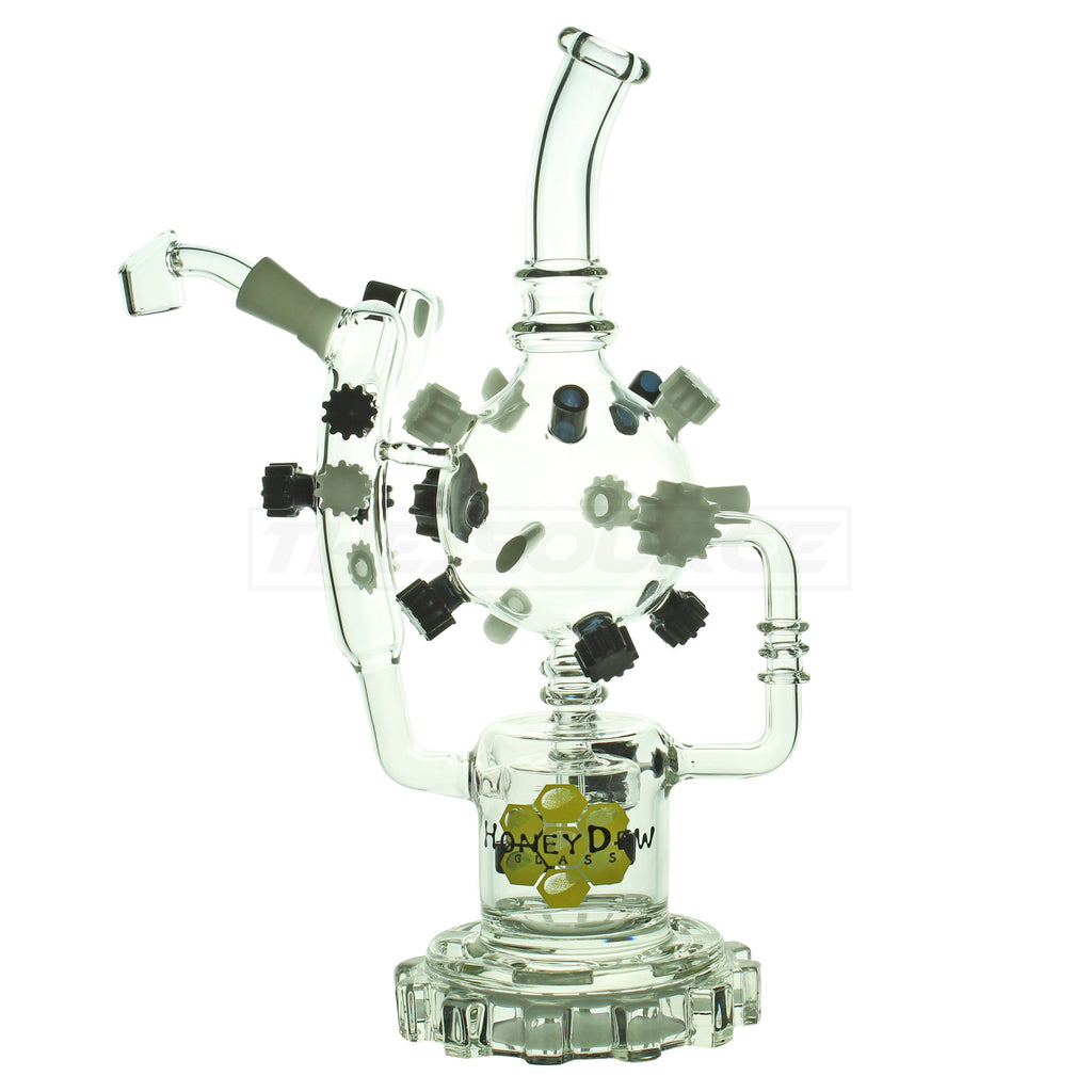 "14"" HoneyDew Glass Wheel Barrel Showerhead Perc Recycler - The Source of All"