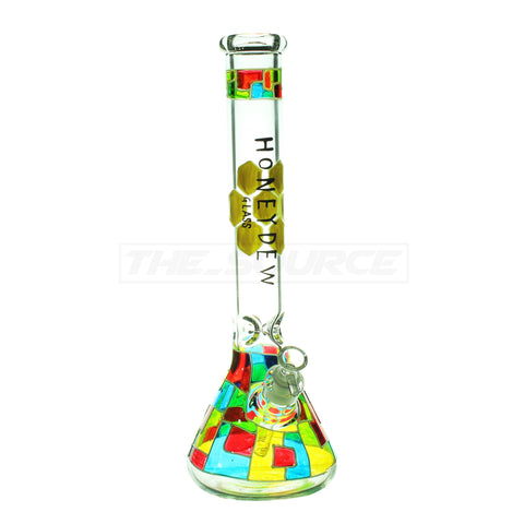 "15"" Glow in The Dark Tile Design Beaker Bong - The Source of All"