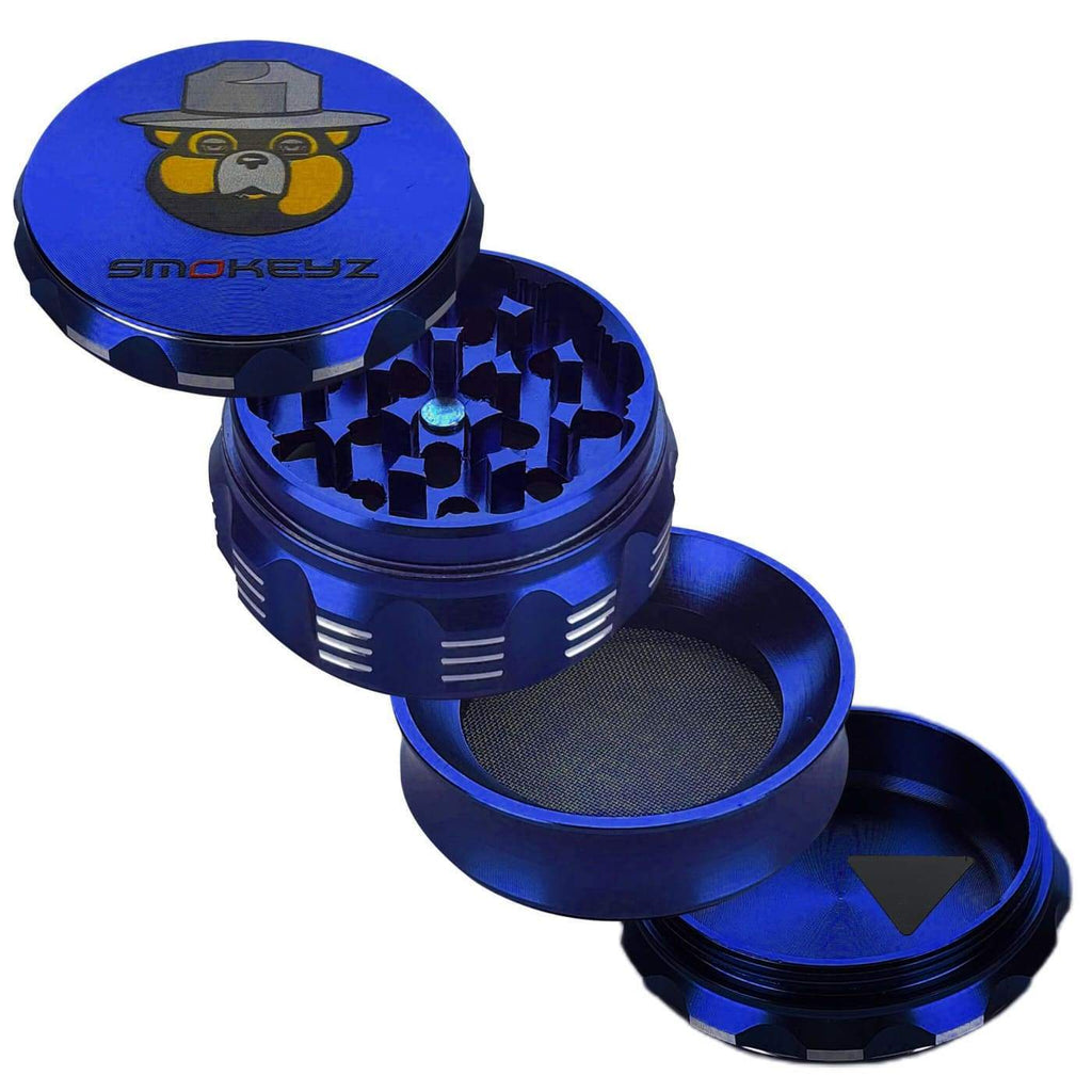 Smokeyz Herb Grinders Blue Handle Held Herb Grinder