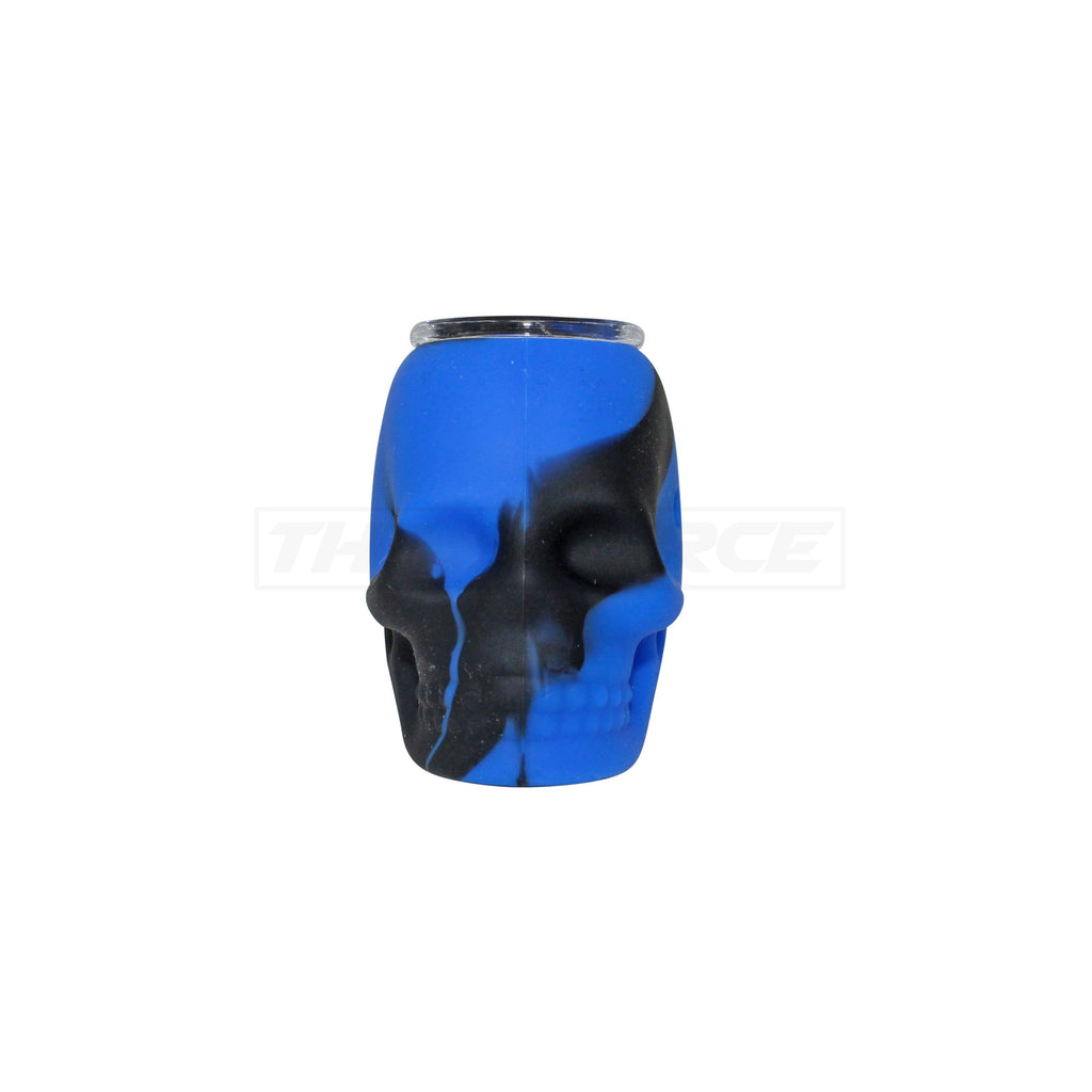 The Source of All Black/Blue Skull Silicone Pipe