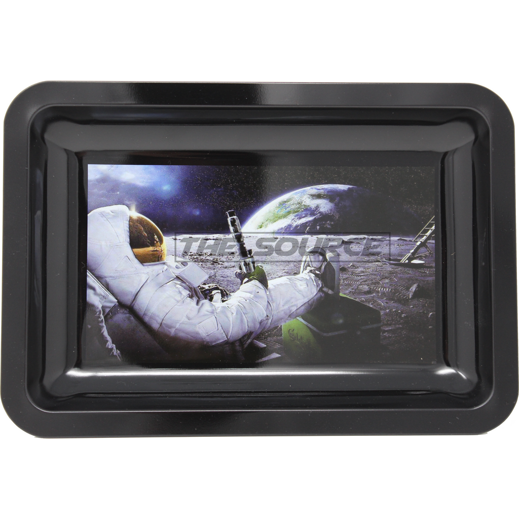 The Source of All Man on the Moon Small Metal Rolling Tray