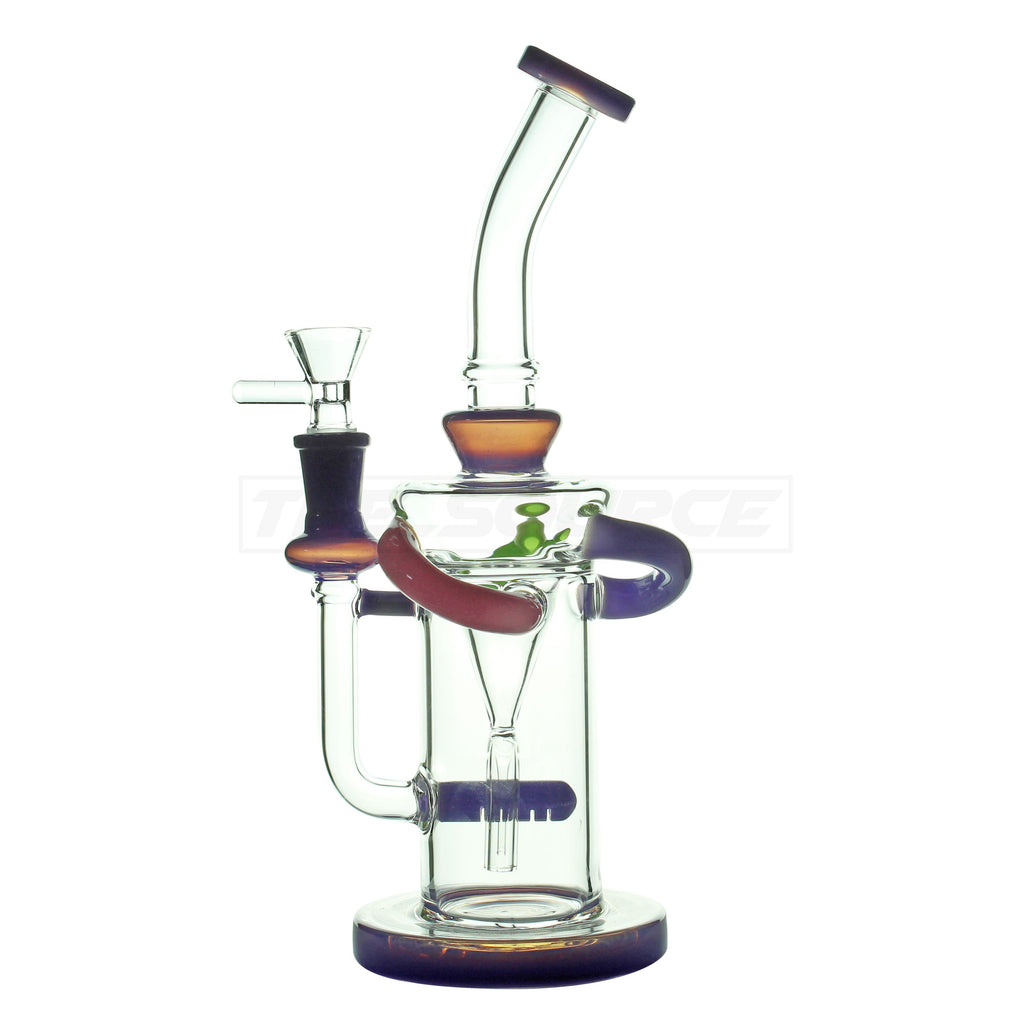 "10"" Colorful Glass Inline Perc Water Pipe - The Source of All"