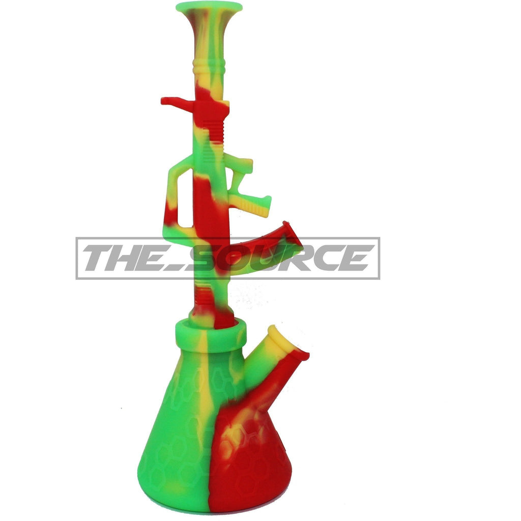 The Source of All Rasta Silicone AK-47 Water Pipe 11""