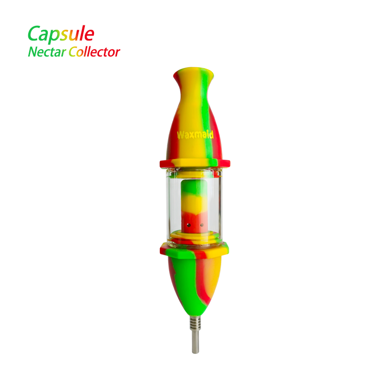 "Waxmaid Dabbing Accessories Rasta Waxmaid 8"" Capsule Silicone Glass Nectar Collector"