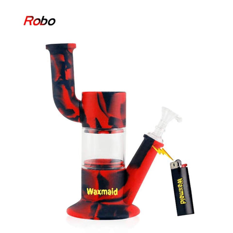 Waxmaid Water Pipes Black Red Robo Silicone Glass Water Pipe