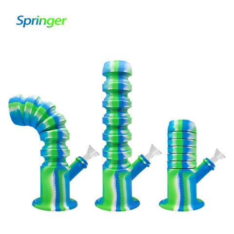 Waxmaid Water Pipes Blue White Green Springer Silicone Bong