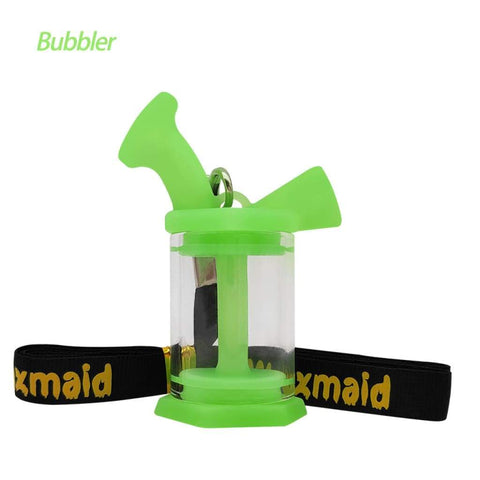 Waxmaid Water Pipes GID Green Silicone Glass Mini Bubbler