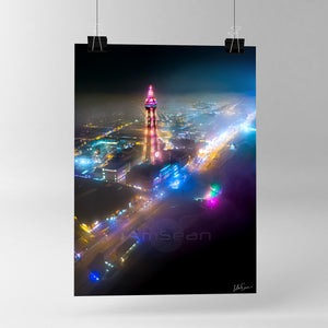 Blackpool Through The Mist - Poster Print