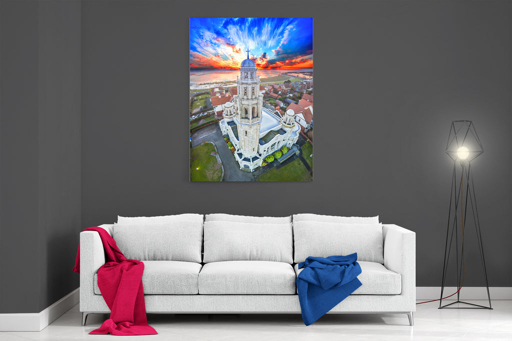 White Church Sunset - Ready To Hang Canvas