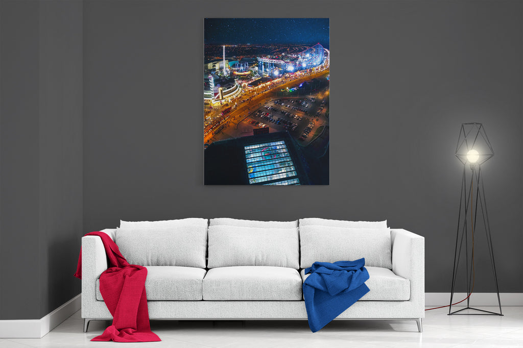 Pleasure Beach At Night - Ready To Hang Canvas