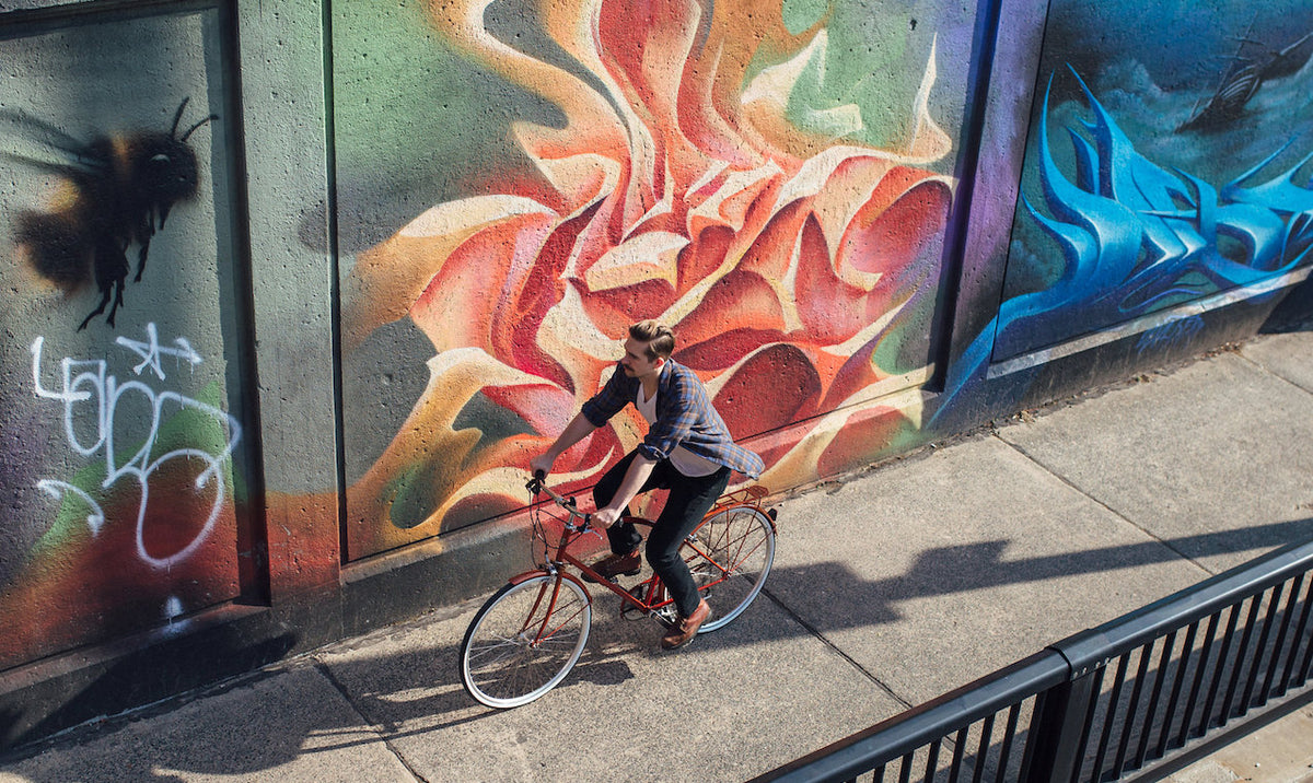 Bicycle In Front Of Mural In Toronto
