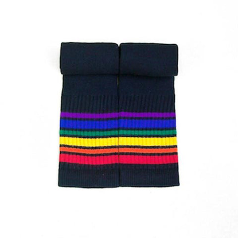 "14"" Kids Rainbow Striped Tube Socks 