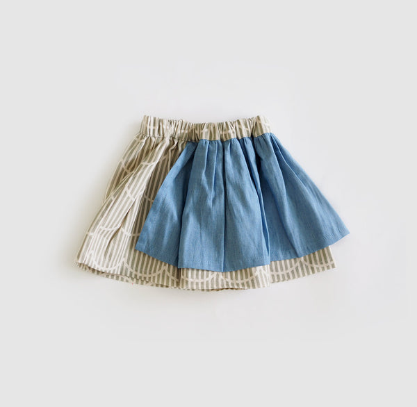 Denim Skirt | Waves Print