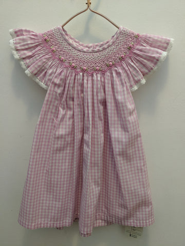 Pink Gingham w Embroidered Flowers