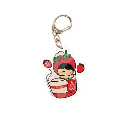 Strawberry Ang Ku Kueh Girl Keychain