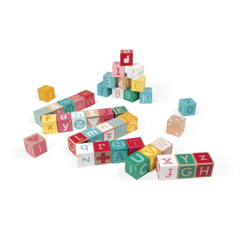 Kubix 40 Letter & Number Blocks with Playmat