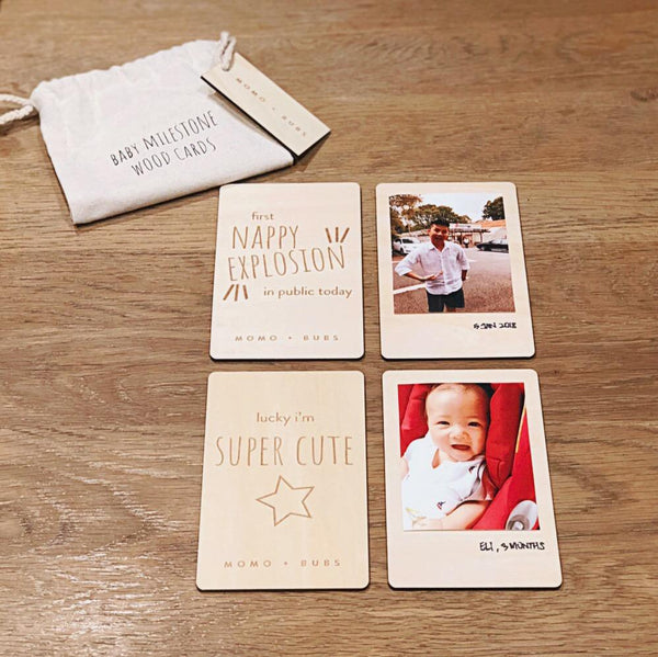 Momo and Bubs - Baby Milestone Wood Cards