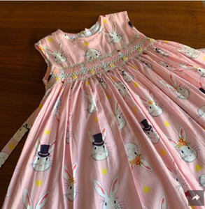 Whimsical Bunny Dress With Embroidered Daisies